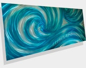 turquoise art painting modern teal ocean wave long outdoor indoor wall decor home office artwork grind fine Metal hand made by Lubo Naydenov