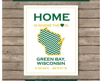 Green Bay, Wisconsin Packers University of Wisconsin Packers Printable, Packers Art Print
