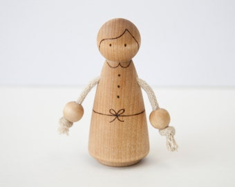 Peg Doll Teething Toy All-Natural Wood Burned