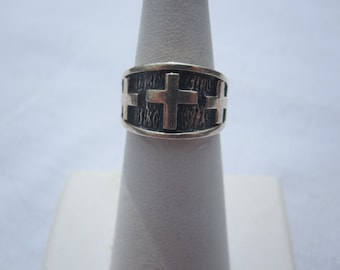 Sterling Ring with Crosses