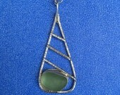 Sea Glass Jewelry - seafoam green necklace English Sea Glass