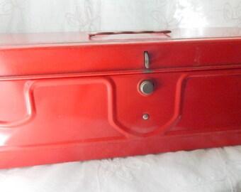 Vintage Red Tool Box, Vintage Red Metal Box with Handle