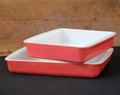 Vintage Pyrex Flamingo Pink #222 and #232 Casserole Dishes