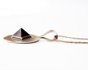 Vintage Sterling and Amethyst Pyramid Necklace Sterling Silver Bead Chain