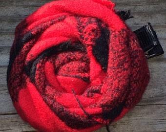 Red Black Buffalo Plaid Frayed Fabric Rosette Flower Clip Babies, Toddlers, Girls, Women
