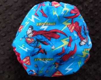 SassyCloth one size pocket diaper with Superman cotton print. Ready to ship.