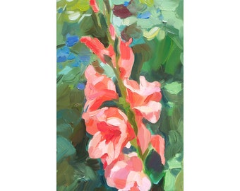 Gladiolus in the summer heat. Original oil painting, etude, painted from life. Impressionistic painting.