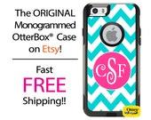 iPhone OtterBox Commuter Case for iPhone 7, 7 Plus, 6/6s, 6 Plus/6s Plus, 5/5s/SE, 5c Galaxy S7 S6 S5 Note 5 Monogrammed Chevron Aqua Case