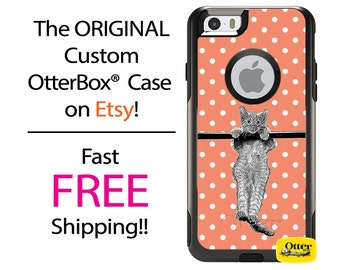 iPhone OtterBox Commuter Case for iPhone 7, 7 Plus, 6/6s, 6 Plus/6s Plus, 5/5s/SE, 5c Galaxy S7 S6 S5 Note 5 Custom Cat Polka Sketch Case