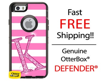 OTTERBOX DEFENDER iPhone 6 5 5S 5C 4/4S iPod Touch 5G Case Custom Hot Pink Stripes Glitter Initial - Monogram Personalized ID