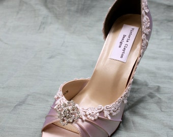 Champagne Wedding Shoes-- Lace Wedding shoes Size 7.5-- The Corissa