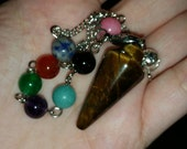 Tiger's eye Pendulum with chakra beads on chain.