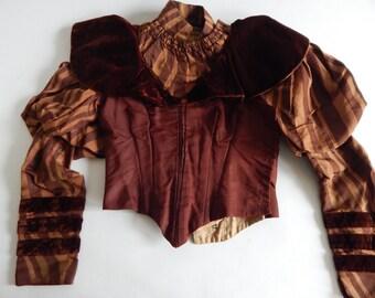 Edwardian Victorian Bodice Rich Brown Silk Striped Brocade & Velvet Trim Sz XXXS