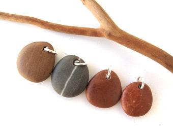 Diy Jewelry Stones Drilled Beach Stone Beads Mediterranean Pebble Beads Natural Rock Pendants River Stone Beads Brown MANGO MIX 20-23 mm