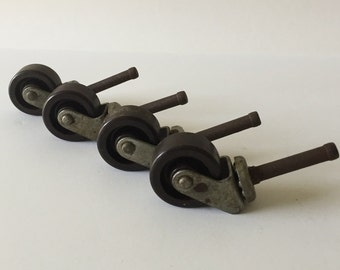 Set of Four (4) Vintage Furniture Casters, Metal with Hard Rubber Wheels, Furniture Restoration, Salvaged Hardware