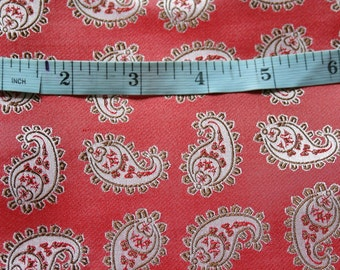 """Woven silk fabric with a paisley design in red and grey tones, size 24"""" x  27"""", medium/light weight silk"""