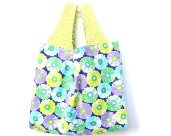 Fabric Market Tote, Reusable Tote Bag, Reversible, Flowers, Lime Green Purple Teal Navy