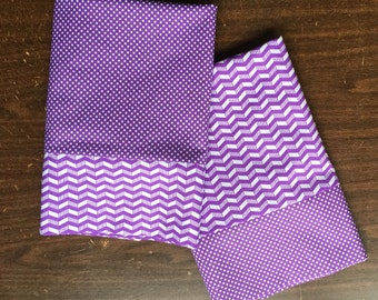Set of 2 pillow cases in coordinating Purple and White chevron and polka dot patterns standard/queen