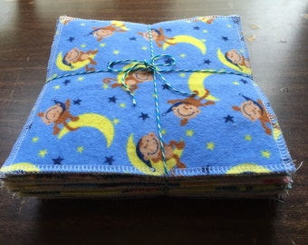 Cloth baby wipes set of 24  different patterns for boys made with 2 layers of 100% cotton flannel