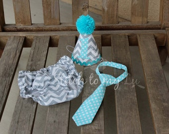 First Birthday Cake Smash Set Gray Chevron Aqua Dots Diaper Cover Neck Tie Hat 1st Birthday Outfit Cake Smash Toddler Baby Boy