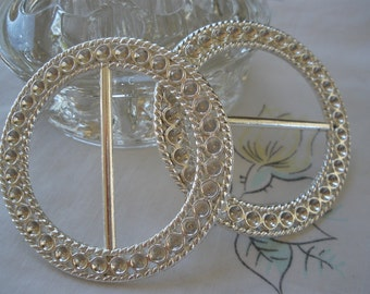 "2.25"" Round silver ribbon scarf slide rhinestone ready buckle metal embellish fancy 1.5"" opening sash slide wedding bridal"