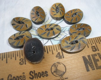 """19MM Carved fisheye oval Buttons 9 each natural 30L 3/4"""" tribal knit crochet embellish novelty eco friendly wood Made in Italy nut shell"""
