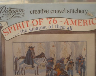 Spirit of '76 America Paragon Creative Crewel Stitchery Kit Washington at Valley Forge No. 0908 Embroidery wall hanging 12x18 Vintage