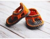 Sample Sale  - 0-3 Month Trekker Sandal - Pumpkin/Heather Gray