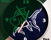 Fish Glow In The Dark Wall Clock, Round Night Visible Fish Design Home Office Wall Clock VS