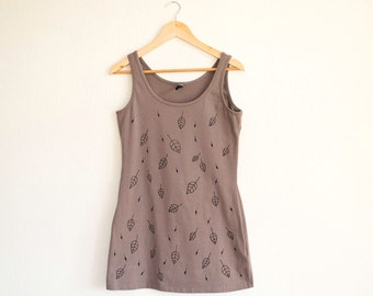 Taupe Brown Tank Top with Black Leaves Size L, Hand Painted Jersey Top, Nature Inspired Apparel