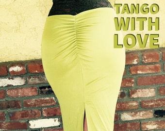 Sale!! MILONGA Black Tango Salsa Dance Pin Up Skirt with Fish Tail Ruched Back