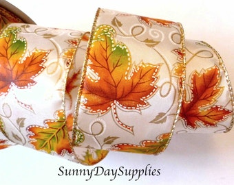 Autumn Leaves Ribbon, Fall Colors, Wide Fall Ribbon, Ivory, Gold Wired Edge, Fall Ribbon, Tangerine Orange Leaves, 2 YARDS, 2.5 inches wide