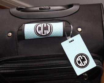 Monogrammed Luggage Handle Wrap and Luggage Tag SET - Personalized Luggage Tag - Personalized - Graduation Gift