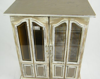Jewelry Armoire -Large Jewelry Music Box - Wood  Vintage Jewelry Organizer - White and Tan - Rustic One Of  A Kind - 4 drawer