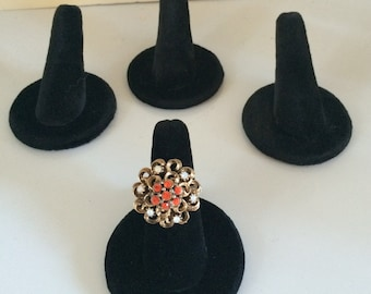 Set of 4 FOUR black velours ring stands displays for craft fair, shows, stores, shops
