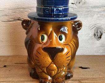 Lion Cookie Jar with blue hat. Ceramic cookie jar.