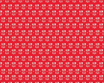 Ooh La La Riley Blake  Fabric Yardage, Ooh La La, C4864 CUTLERY RED