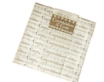 Vintage Wrapping Paper - All Occasion Gift Wrap - Full Sheet - Norcross - Titled Congratlutions in Gold