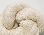 Eggshell White Silk Cashmere Lace Weight Recycled Yarn, SCH00098