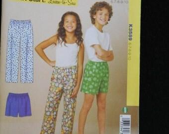 boysand girls  sleep pants and shorts pattern kwik sew k3589 uncut pattern
