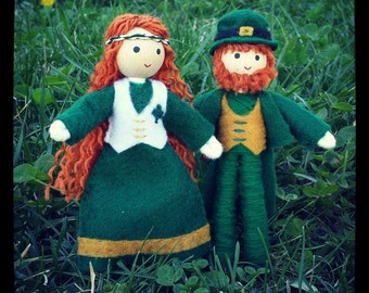 Leprechaun Dolls- Irish Leprechaun Couple  - St. Patrick's Day  - Leprechaun - bendy doll  - Irish dolls
