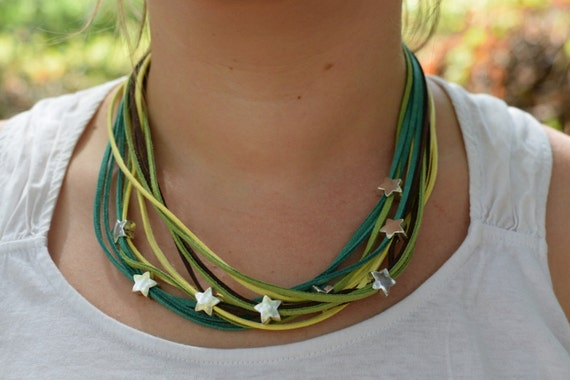 Green necklace,statement necklace,stars necklace,stars choker,stars bib,green stars necklace,suede choker,suede necklace,beaded necklace