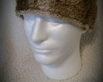 Large Size Cable Style Earwarmer Headwrap in Natural Brown Tones