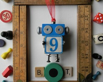 Robot Ornament - Christmas Ornament - Recycled Decor - Kids Decor by Jen Hardwick