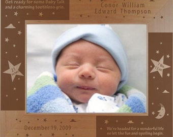 Personalized New Baby Photo Frame - Engraved Wood Baby Picture Frame - Christening Gift - New Parents Frame - Grandparents Gift Frame