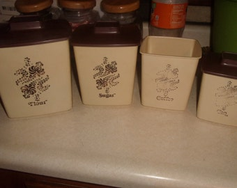 vintage kitchen canisters plastic cream brown scrolls retro 1950s flour sugar coffee tea 7 pieces