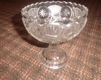 vintage pressed glass heavy crystal clear pedestal candy dish bowl