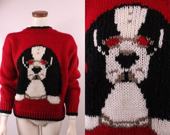Vintage 80s 90s - Red & Black Dog with Sunglasses - Chunky Novelty Knit Sweater - Hound Dog