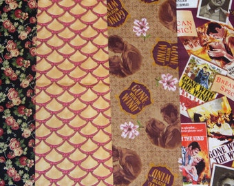 Gone with The Wind Fabric,  Gone with the Wind, Movie Posters, Scarlett & Rhett, Janet Leigh, Clark Gable,  Realistic Photos, 4 Fat Quarters