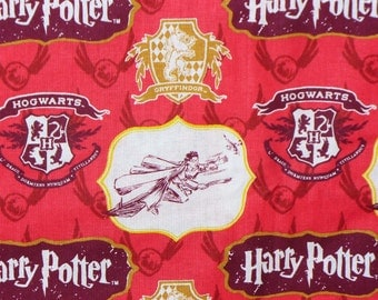 Harry Potter Fabric, Half Yard, Gryffindor Crest, Hogwarts Fabric,  Quidditch Fabric, Harry and Quidditch, Golden Snitch